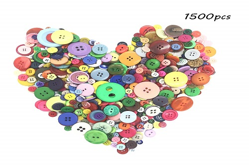 1500pcs Assorted Coloured Buttons