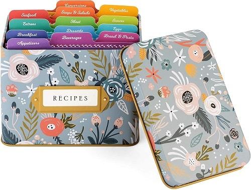 Decorative Tin Recipe Card Box